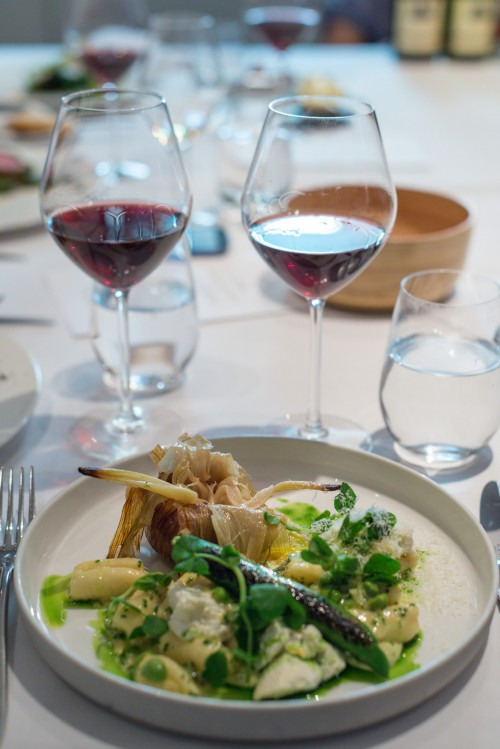 Westcombe ricotta and garlic gnocchi, English pea and parmesan - and German Syrah