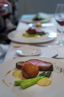 Saddle of Lamb, Asparagus and Sticky Sweetbread Buns at Trinity restaurant