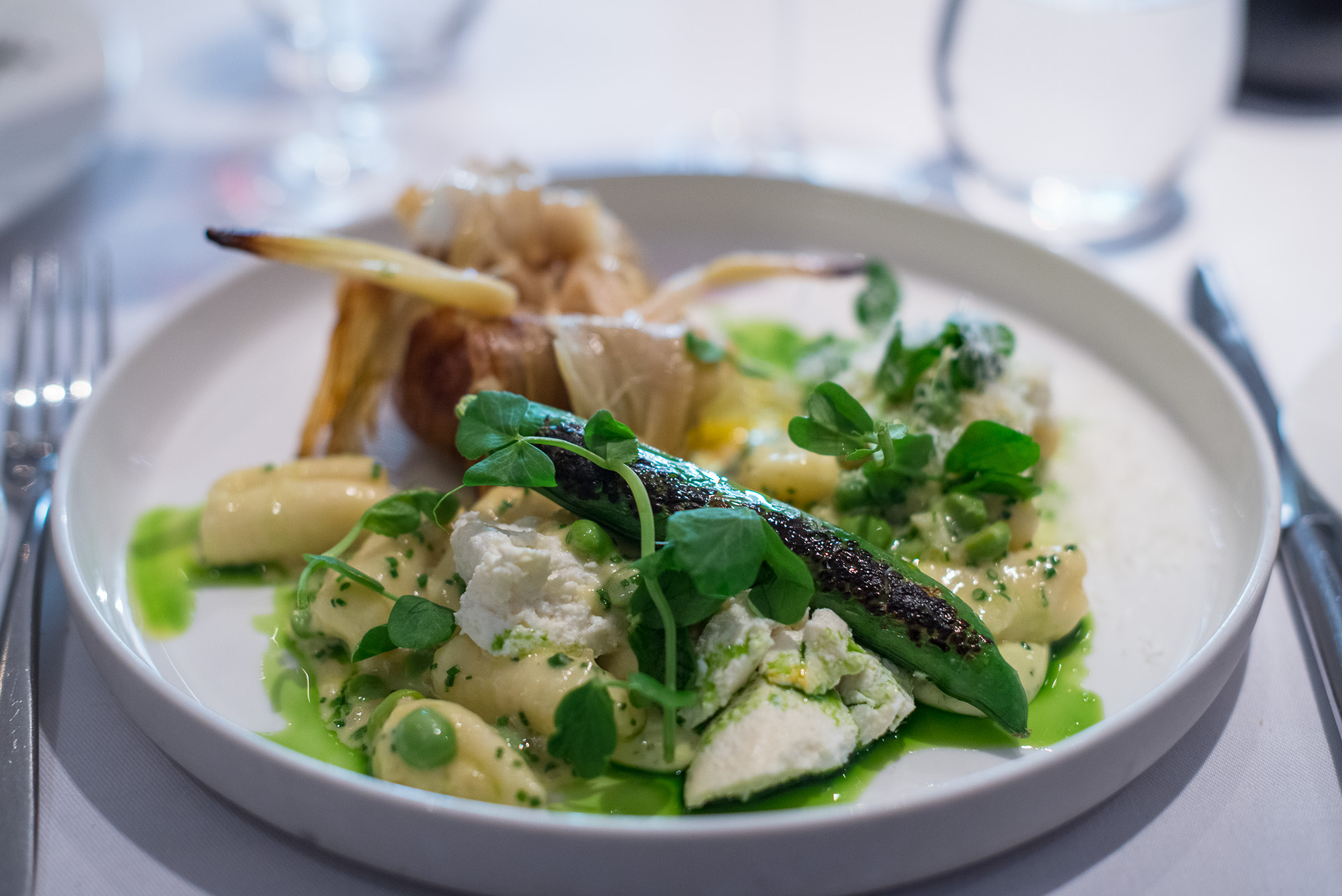 Westcombe ricotta and garlic gnocchi, English pea and parmesan