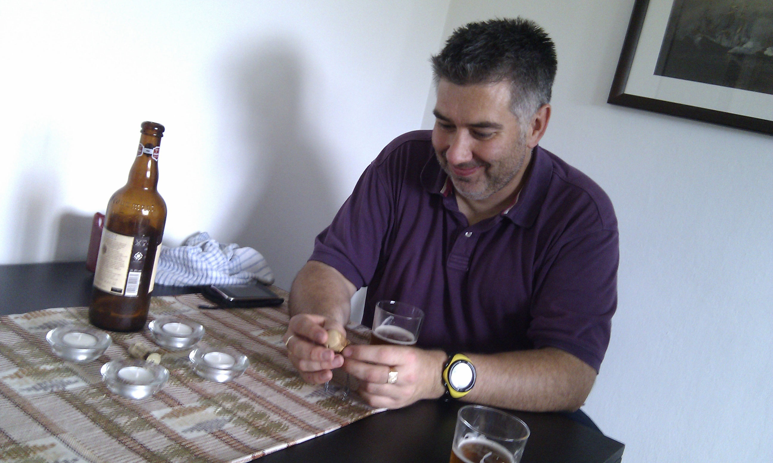 Mike inspecting a Chimay cork
