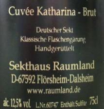 Raumland,  Cuvée Katharina Brut, Blanc de Noir