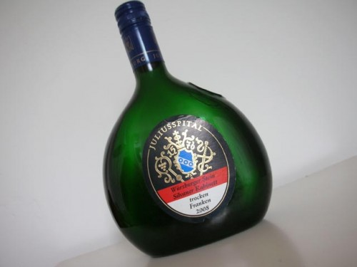 Silvaner in typical Franconian 'Bocksbeutel' botle