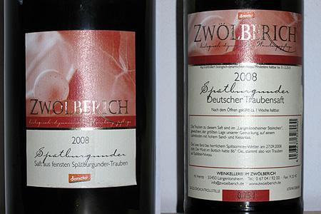 Weingut im Zwölberich, Spätburgunder Traubensaft 2008